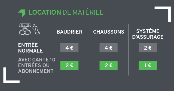 tarifs location matériel Climb Up Aubagne